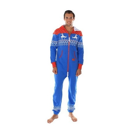 Reindeer Blue & Red Adult Jumpsuit